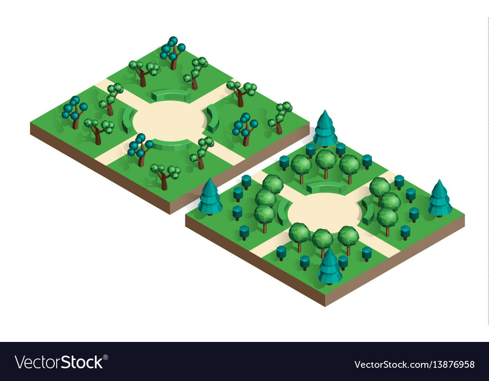 Isometric view projection summer landscape Vector Image - isometric view