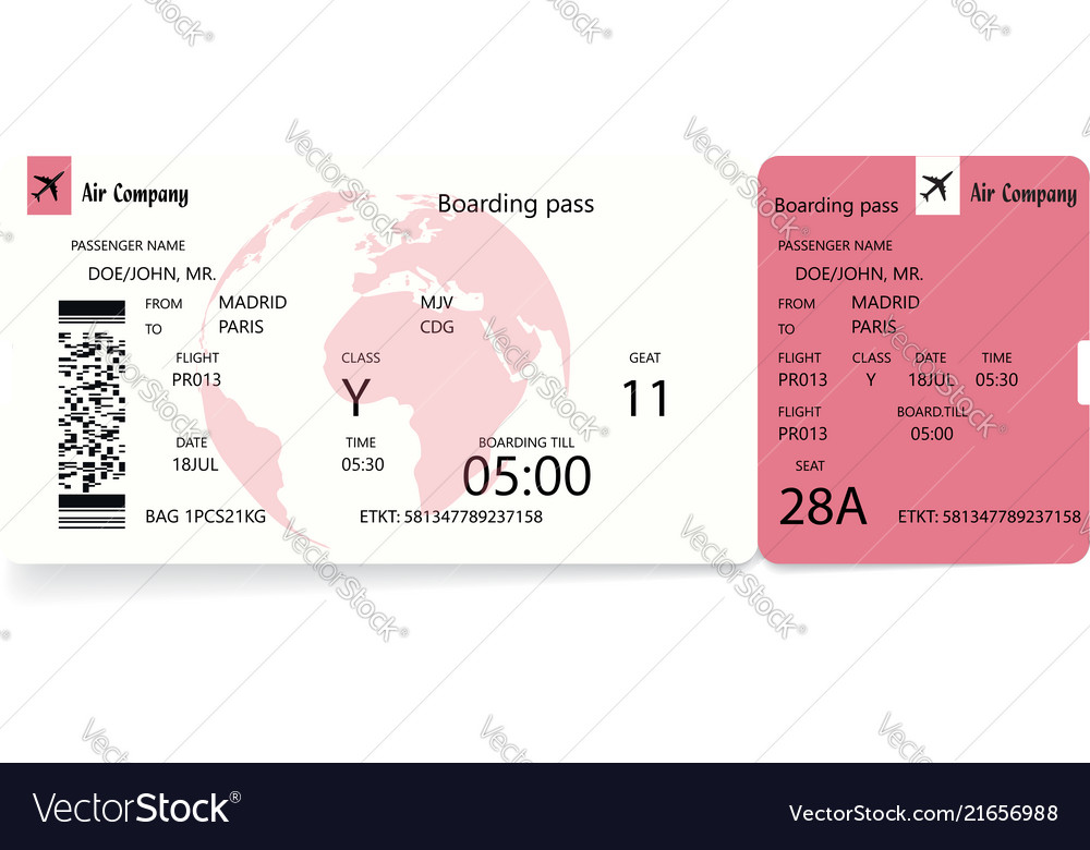 Boarding pass ticket template Royalty Free Vector Image