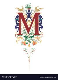 Vintage letter m Royalty Free Vector Image - VectorStock