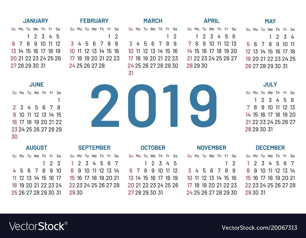 Simple pocket calendar 2019 center year flat Vector Image