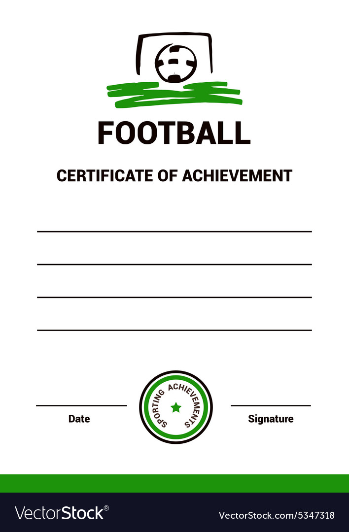 Certificate Template Football Royalty Free Vector Image - football certificate template