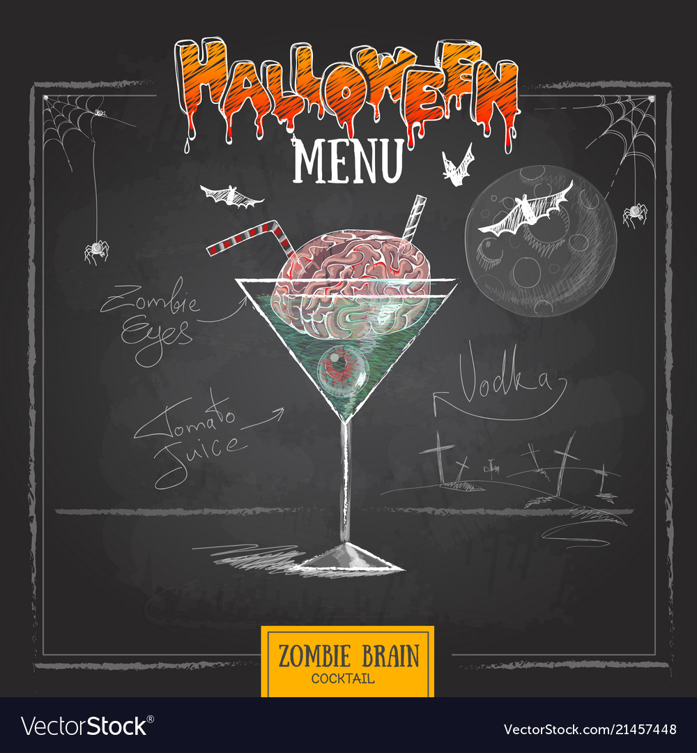 Cocktail Halloween Vintage Chalk Drawing Halloween Cocktail Menu