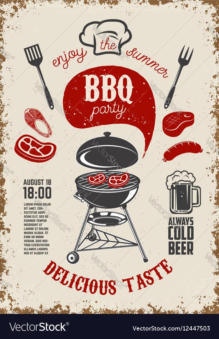 BBQ party vintage flyer on grunge background