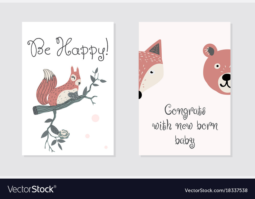 Congrats with new born baby card design be happy Vector Image
