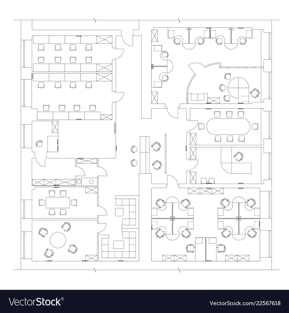 Office Plans Standard Office Furniture Symbols On Floor Plans Vector Image