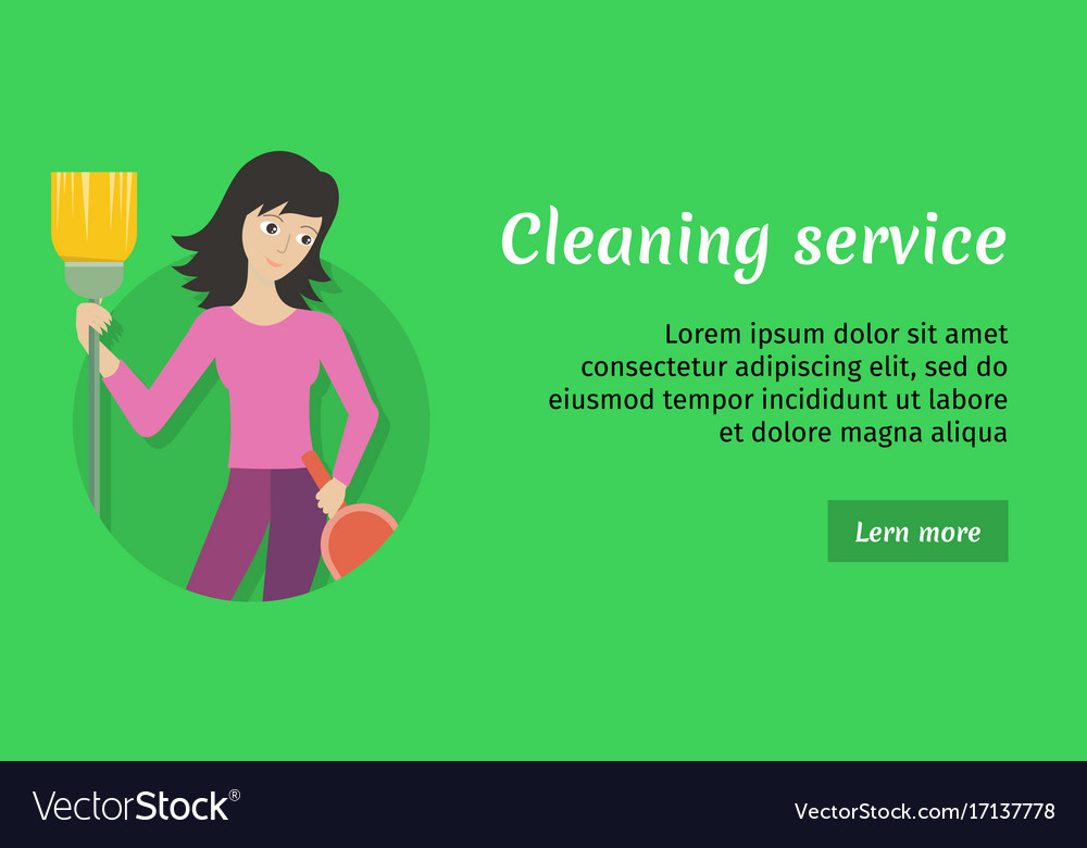Cleaning service ad card banner poster fier Vector Image