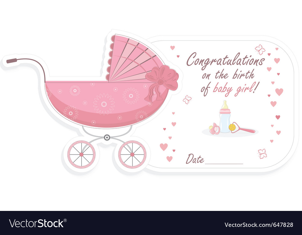 Stroller for baby girl Royalty Free Vector Image - Birth Of Baby Girl