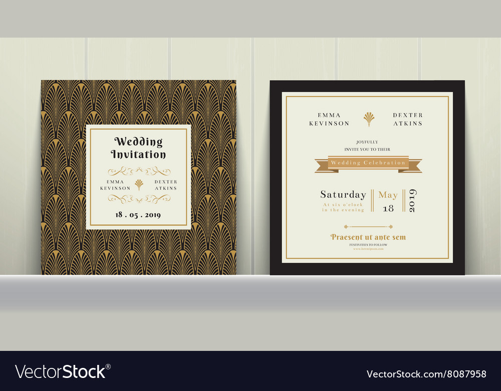Art Deco Wedding Invitation Card in Gold and Black