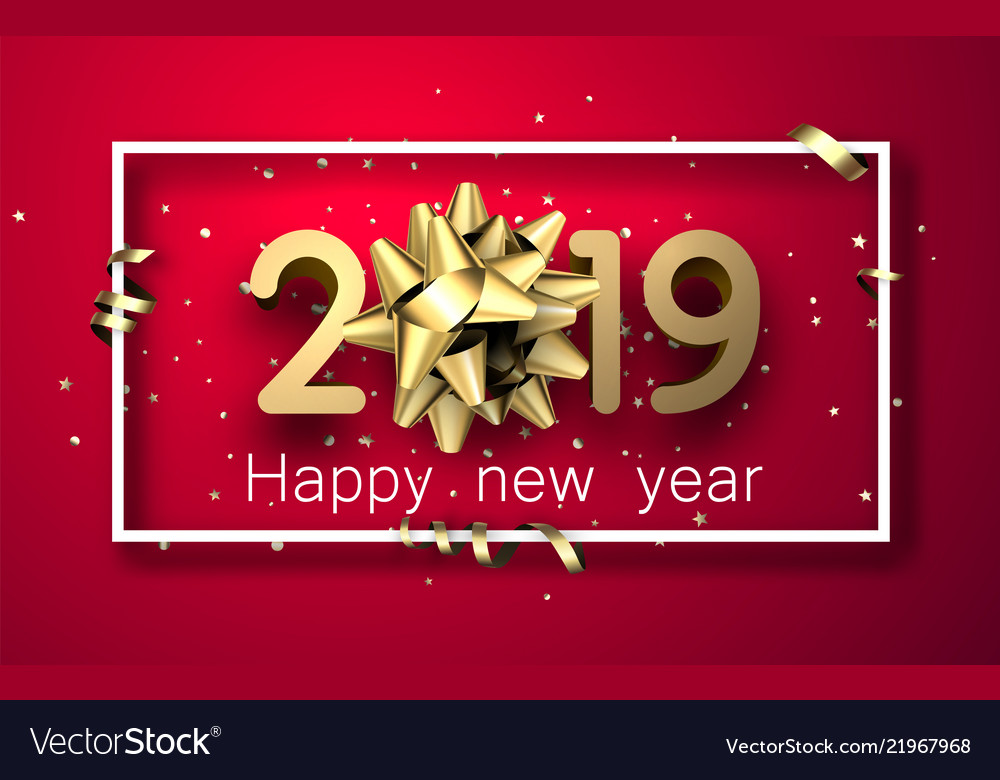 Red 2019 happy new year card with gold bow and Vector Image