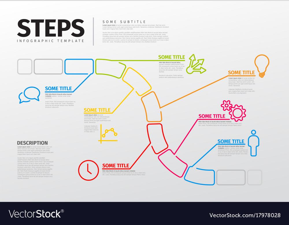 Thin line steps progress timeline template Vector Image - timeline template