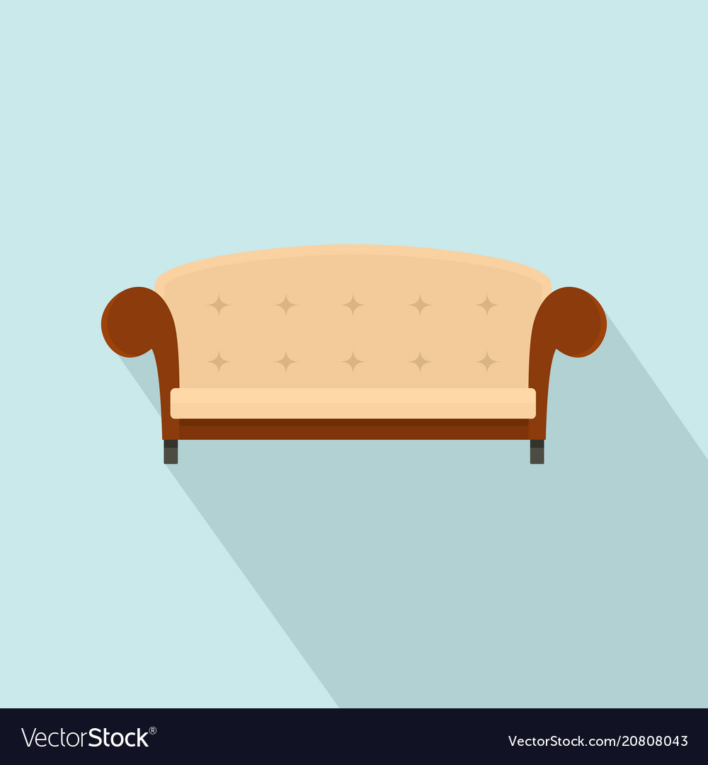 Vintage Couch Vintage Sofa Icon Flat Style Vector Image On Vectorstock