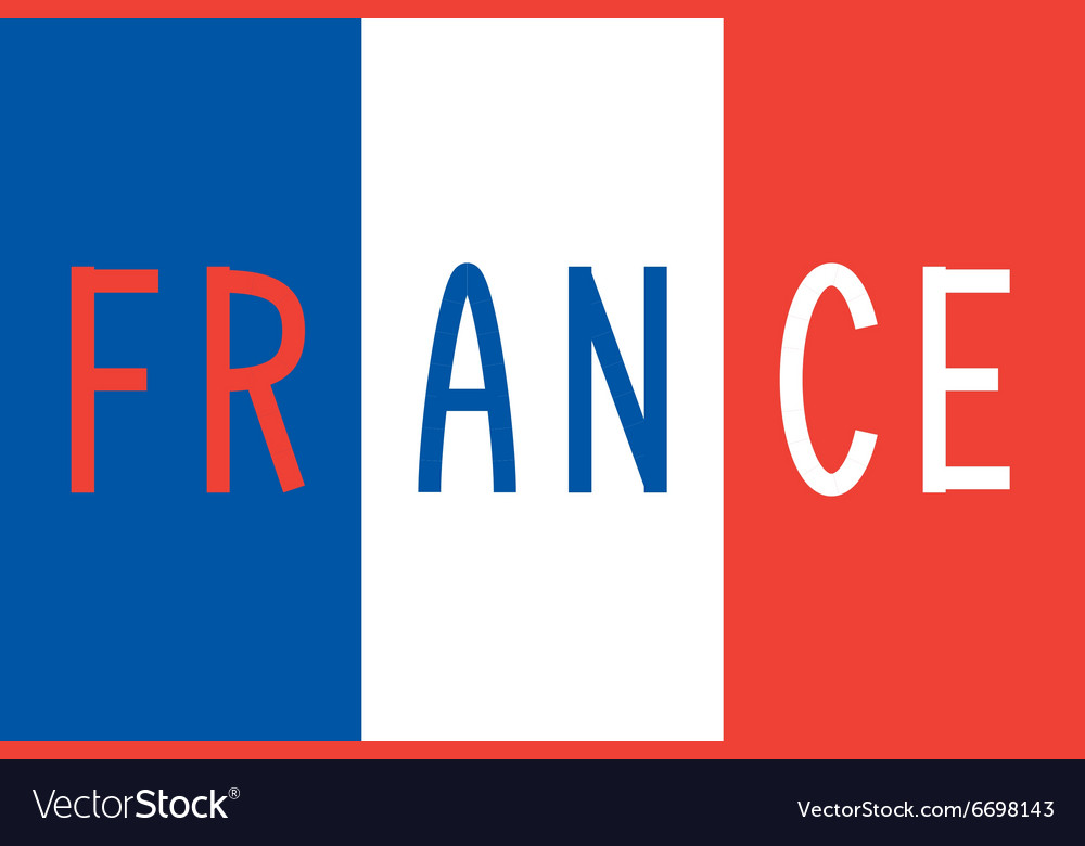 French flag and word France Royalty Free Vector Image - word flag