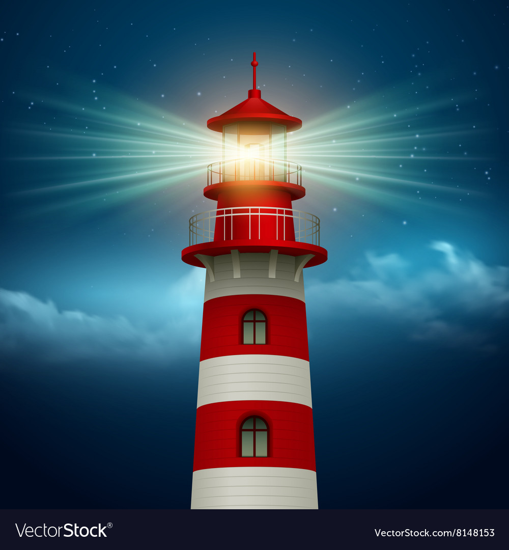Lighthouse Background Realistic Lighthouse In The Night Sky Background Vector Image On Vectorstock
