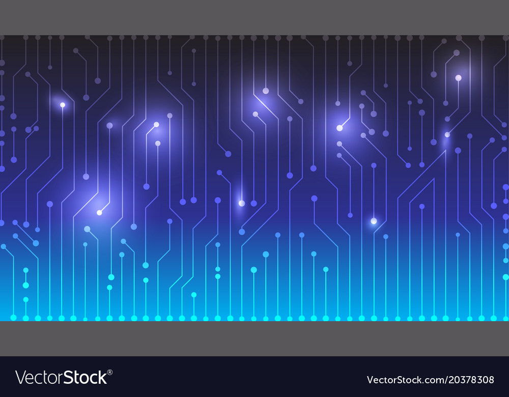 Blue gradient circuit board design background Vector Image