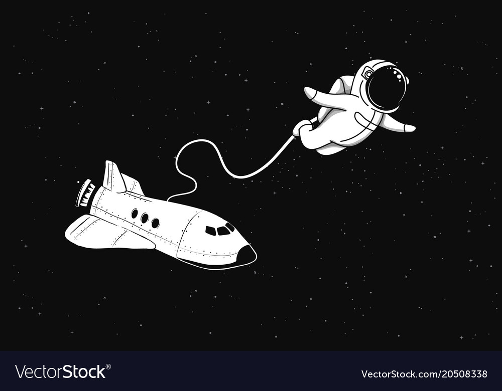 Astronaut sits on space shuttle Royalty Free Vector Image
