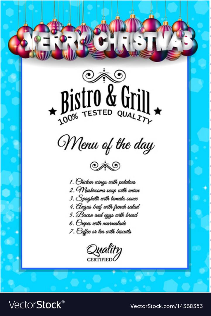 Christmas dinner or lunch restaurant menu template - 5 day menu template