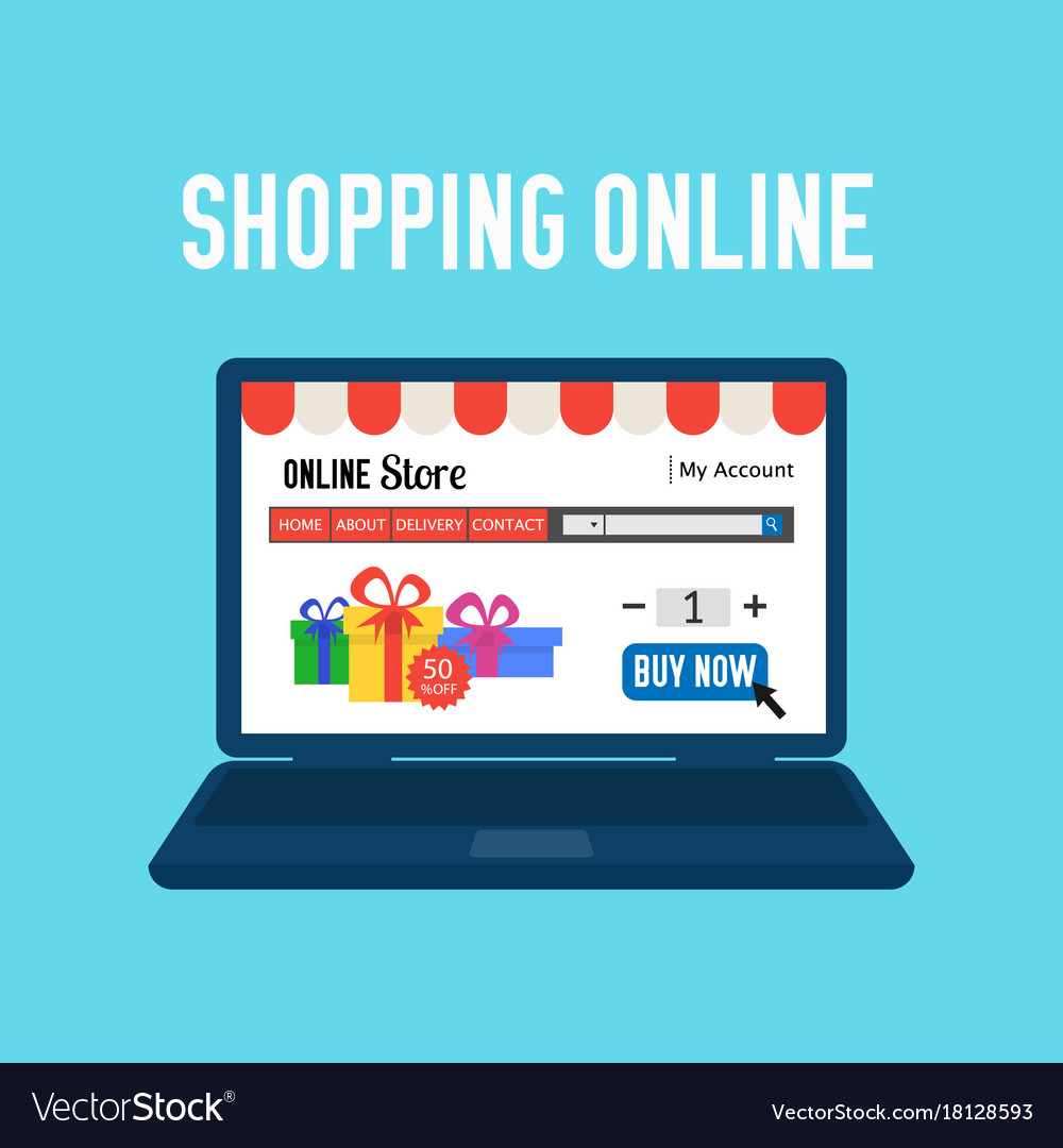 In Shop Online Store Online Store Shopping Online E Commerce Shopping Vector Image On Vectorstock