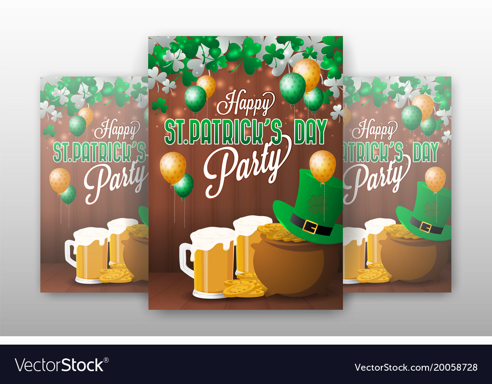 Realistic st patricks day party invitation Vector Image - 's day party invitation