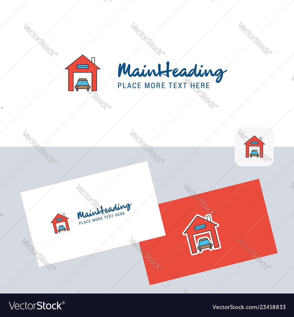 Garage Design Template House Garage Logotype With Business Card Template