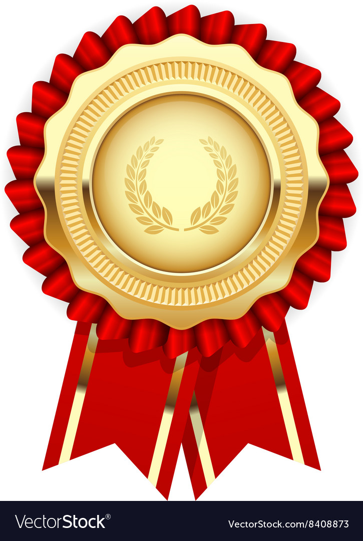Blank award template - rosette with golden medal Vector Image