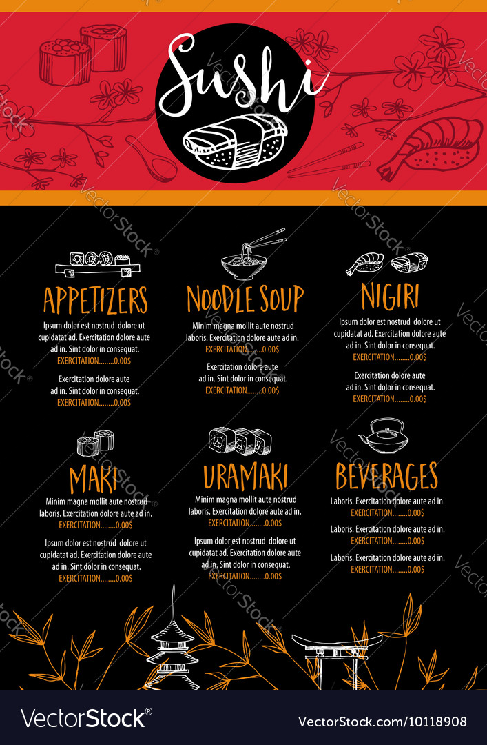 Sushi restaurant menu template design Royalty Free Vector