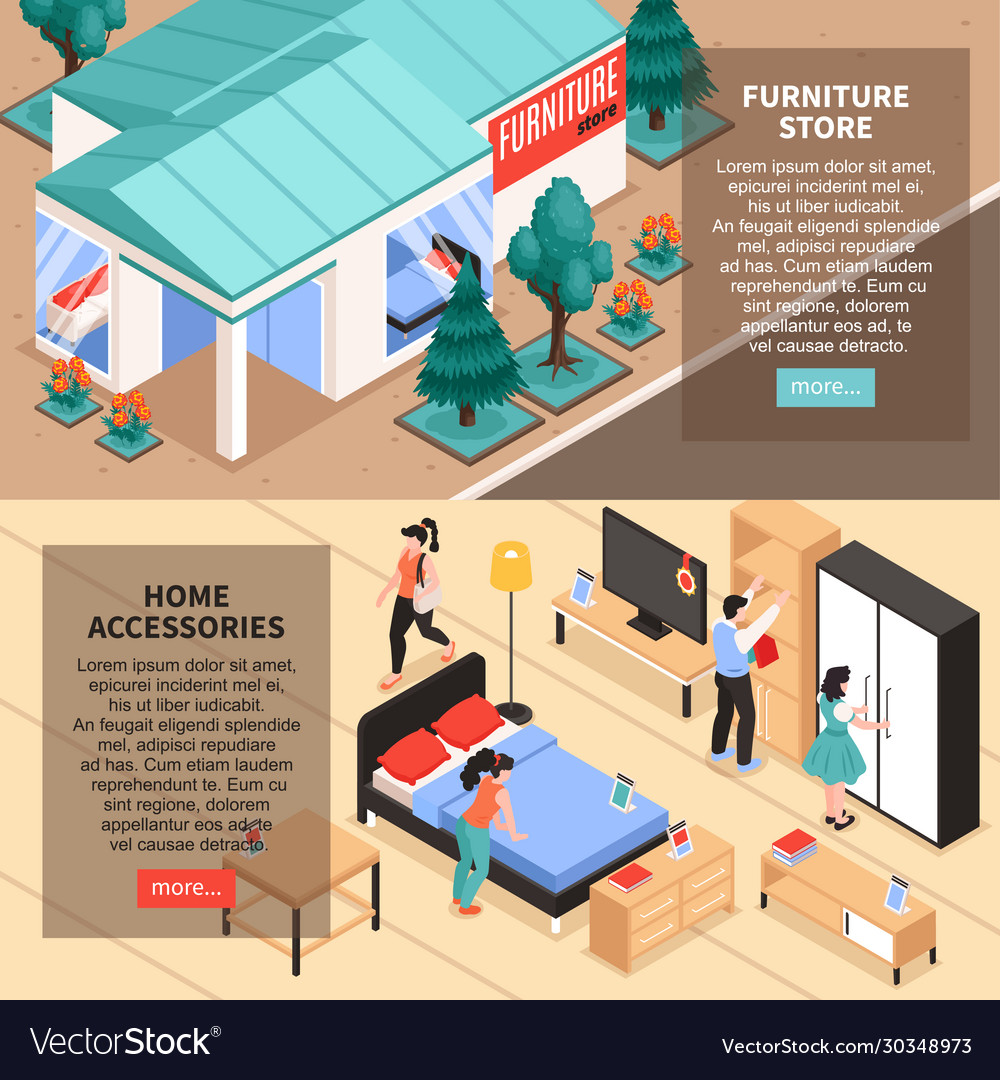 Furniture Store Isometric Banners Royalty Free Vector Image