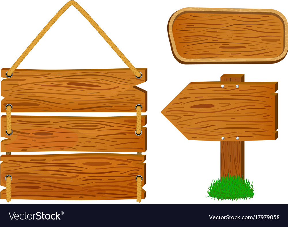 Cartoon Wooden Sign And Banners Rustic Wooden Vector Image