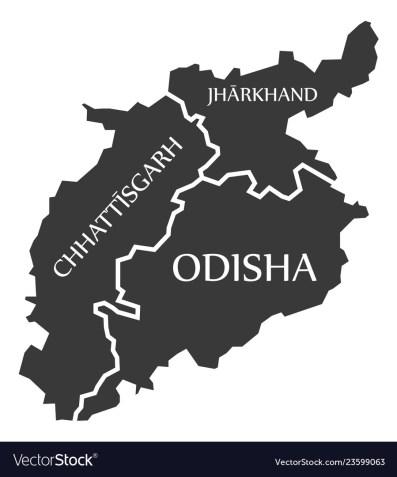 Chhattisgarh - jharkhand - odisha map of indian Vector Image