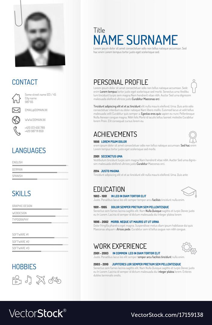 Creative minimalist cv resume template Royalty Free Vector