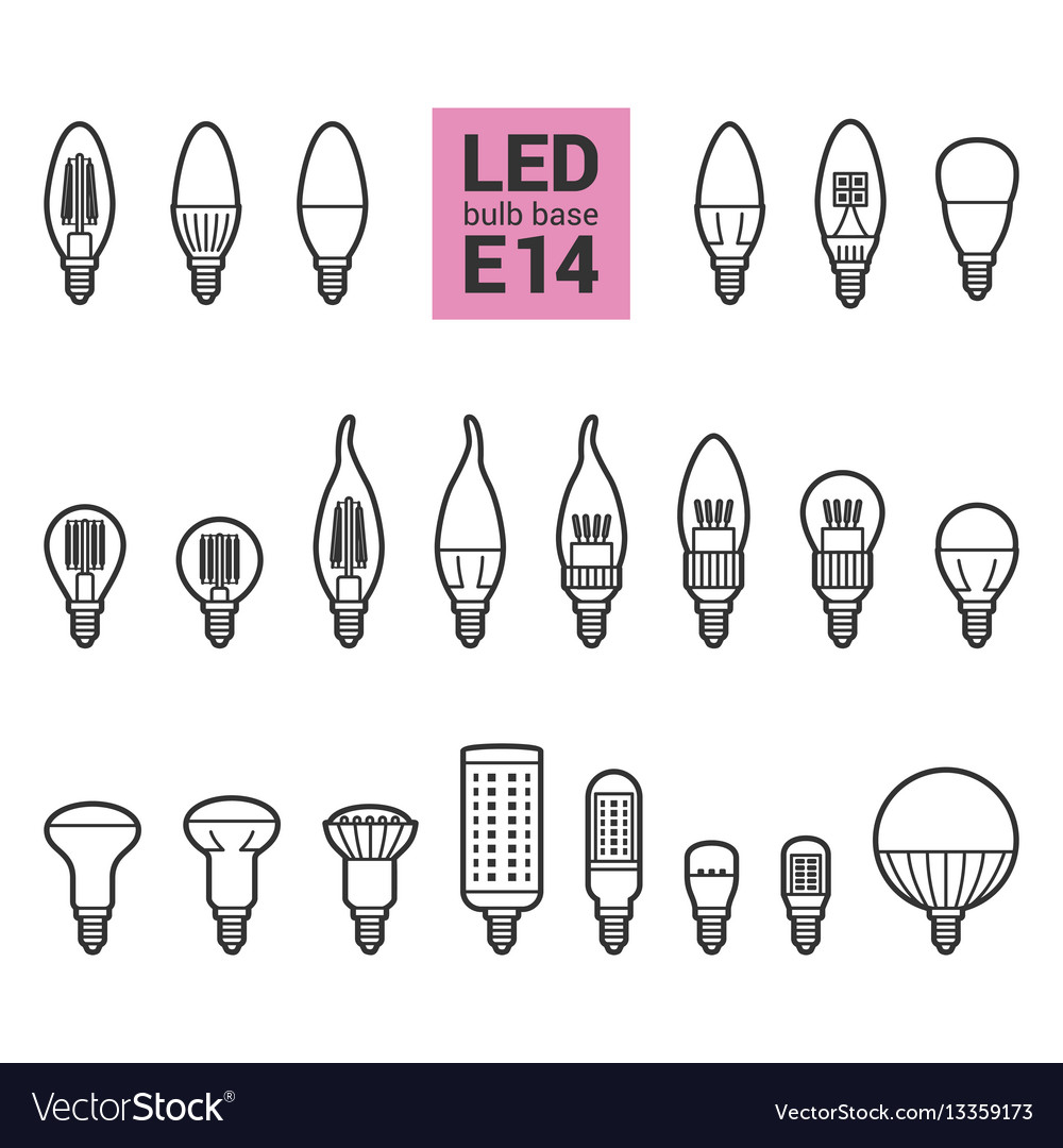 Led E 14 Led Light E14 Bulbs Outline Icon Set Vector Image On Vectorstock