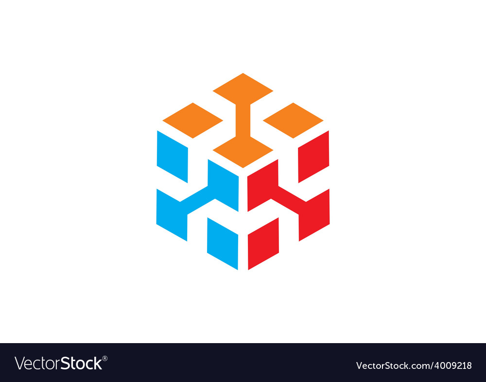 3D cube data abstract logo Royalty Free Vector Image