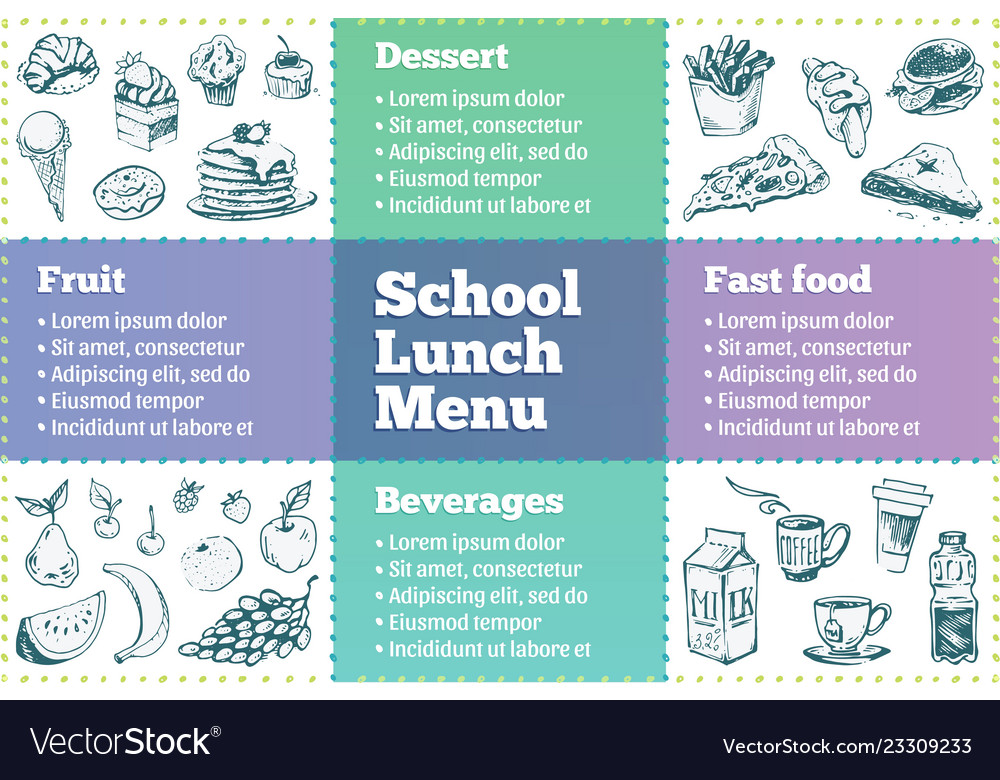 School lunch box menu template sketches of food Vector Image