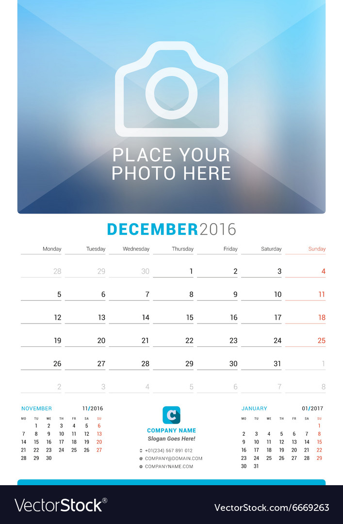 December 2016 Wall Monthly Calendar for 2016 Year Vector Image - december monthly calender