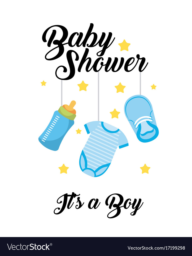 Radiant Baby Shower Its A Boy Clos Bottle Shoe Hang Vector Image On Vectorstock Its A Boy Meme Its A Boy Girl Thing Cast inspiration Its A Boy