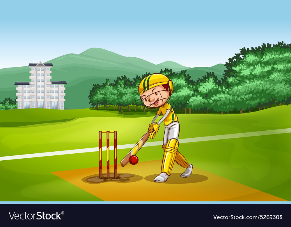 Boy playing cricket on pitch