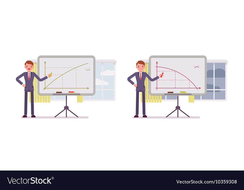 Man points to positive and negative charts on the Vector Image