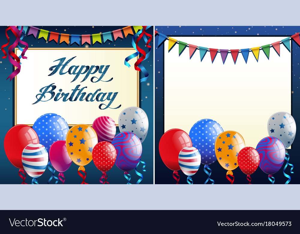 Happy birthday card template with blue border and Vector Image - template for a birthday card