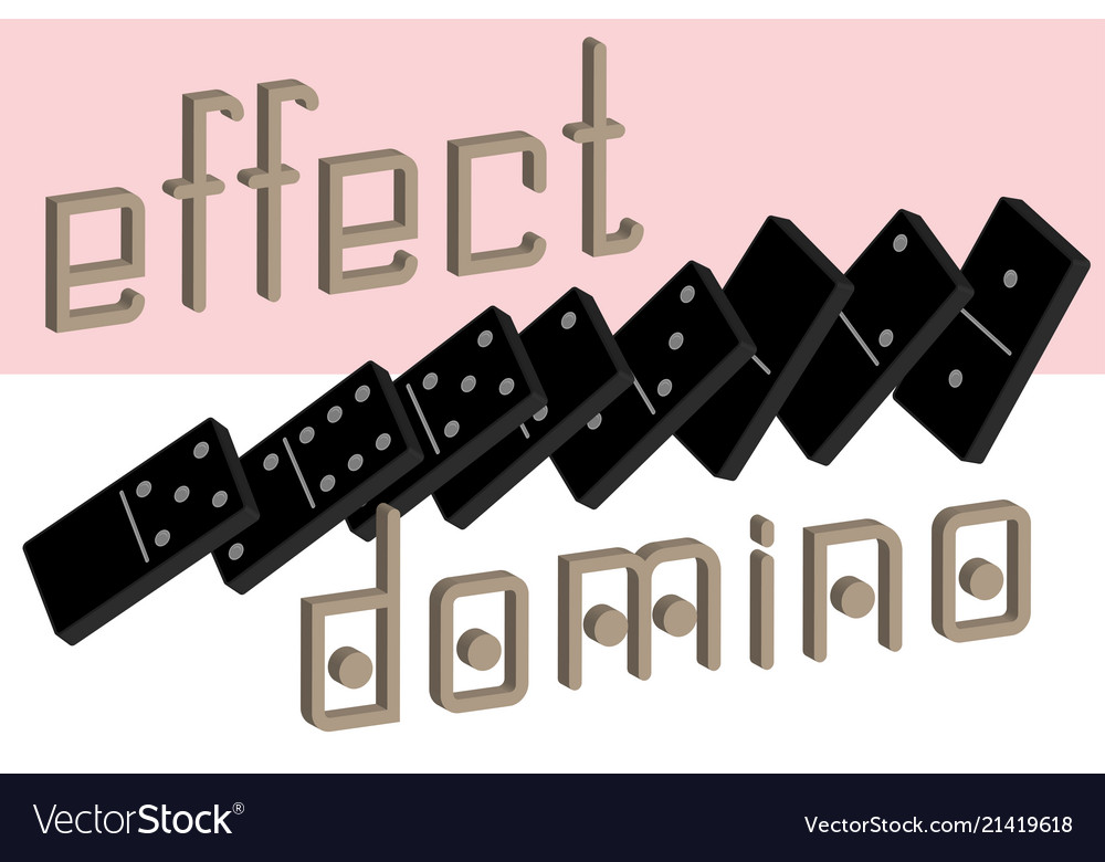 Domino effect poster realistic dominoes full set Vector Image