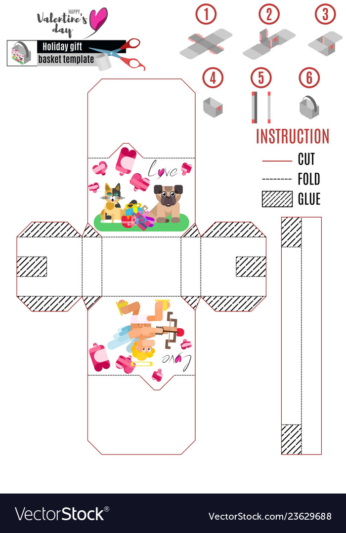 Box template for valentines day with lovers Vector Image