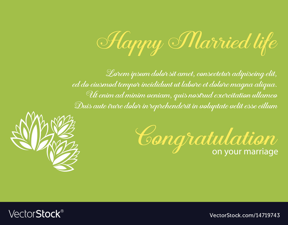 Wedding invitation with green background Vector Image