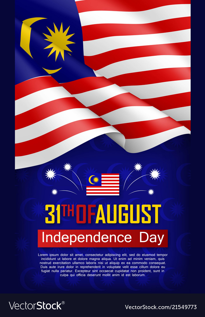 Malaysian independence day vertical flyer Vector Image