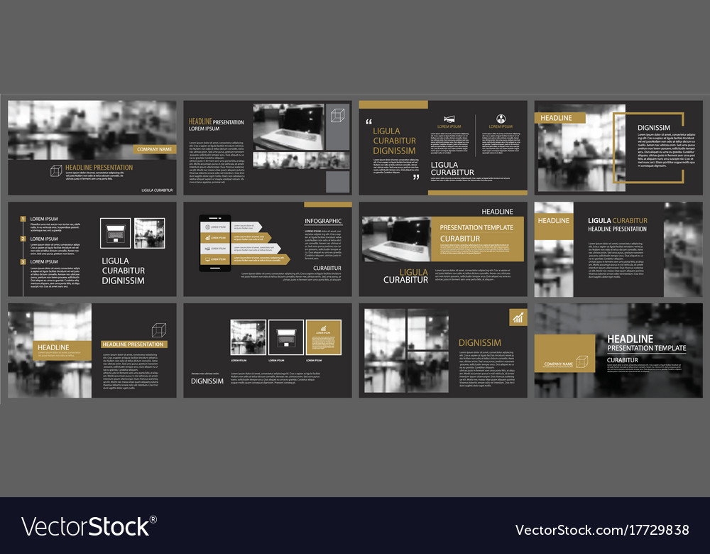 Black gold presentation templates and Royalty Free Vector