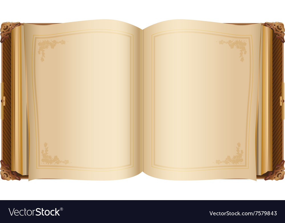 Retro open book with blank pages Royalty Free Vector Image