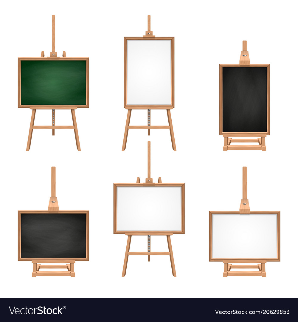 Easels Different Colored Blank Boards Standing On Easels