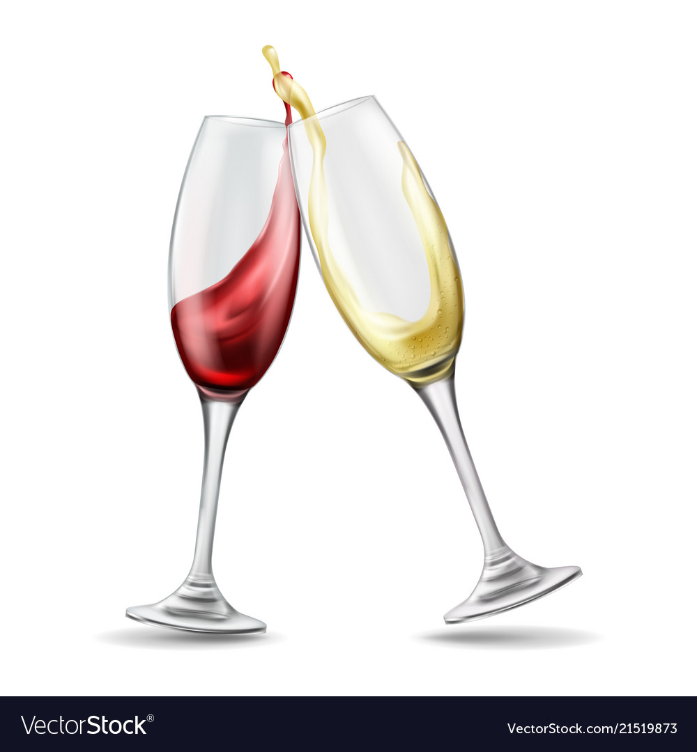 Wine Glasses Two Wine Glasses With Red And White Wine In
