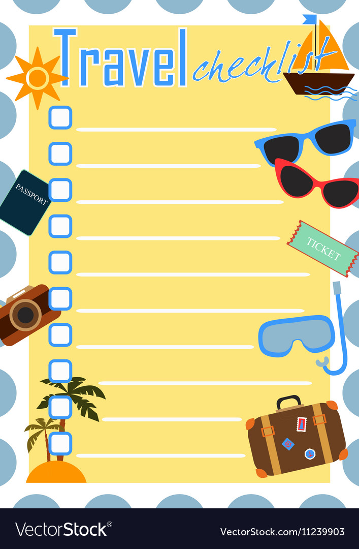 Travel checklist or planner Royalty Free Vector Image