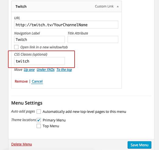 Adding CSS class to navigation menu item in WordPress