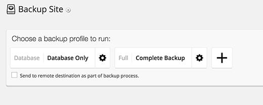 Creating new backups in BackupBuddy