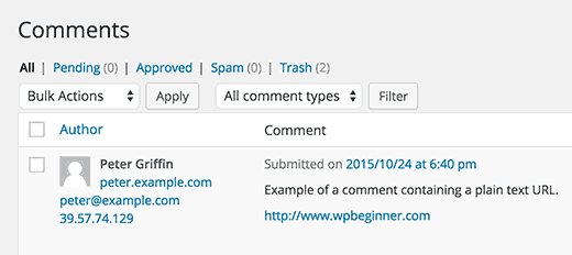 Auto-linked clickable text URL in WordPress comments