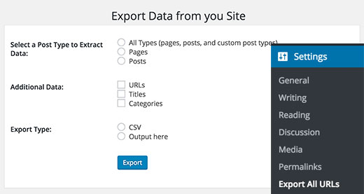 Export all URLs settings page